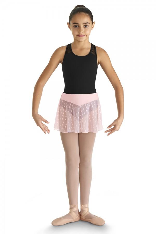 Ljusrosa balettkjol danskjol Durga i nylon med hjärtmönster. 95e9f88e41df4